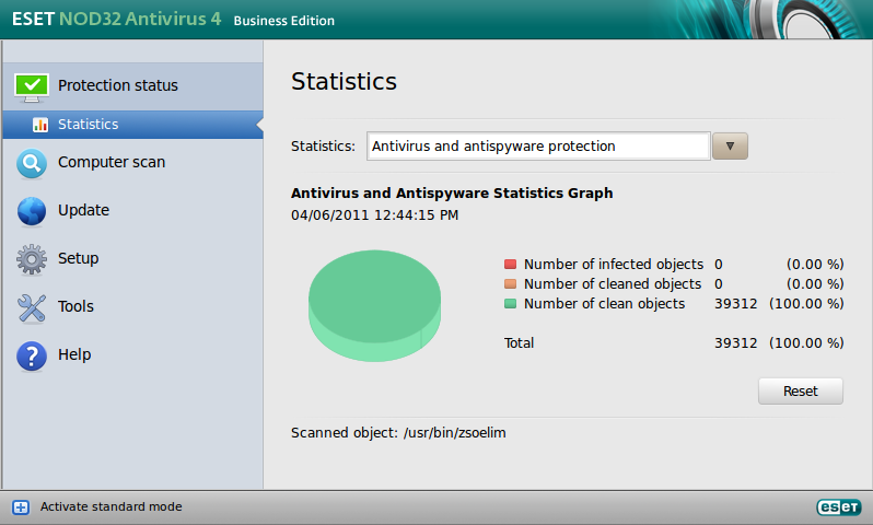 ESET NOD32 Antivirus Business Edition pre Linux Desktop - Protection status - Statistics