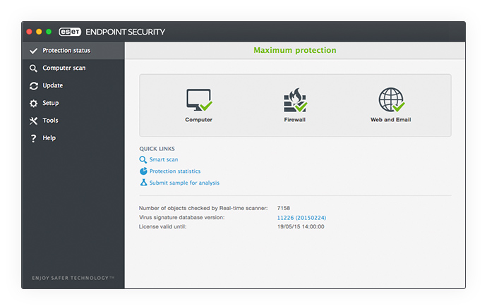 ESET Endpoint Security for OS X - Protection Status
