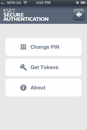 ESET Secure Authentication - Change PIN, Get Tokens, About