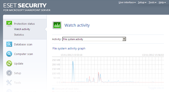 ESET Security for Microsoft SharePoint - Watch activity