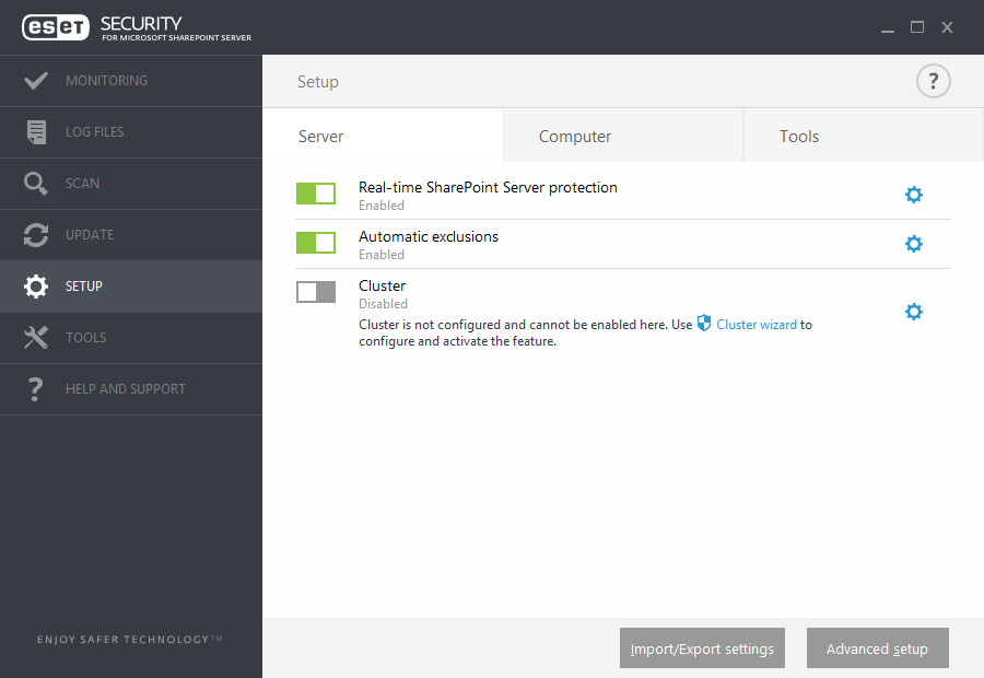ESET Security for Microsoft SharePoint - Setup scan