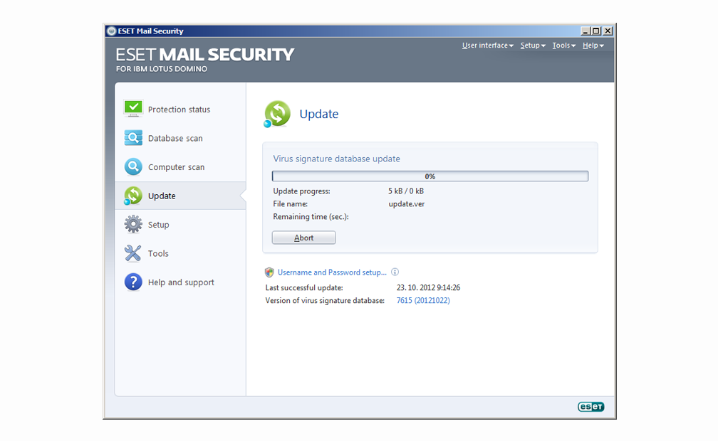 ESET Mail Security for IBM Lotus Domino - Update