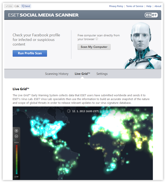ESET Social Media Scanner - Live Grid screenshot